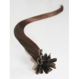 "24"" (60cm) Nail tip / U tip human hair pre bonded extensions – medium brown"