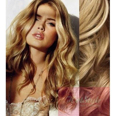 50cm clip in vlnité vlasy evropského typu REMY - přírodní blond