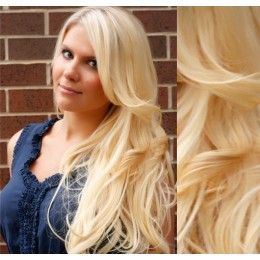 "20"" (50cm) Clip in wavy human REMY hair - the lightest blonde"
