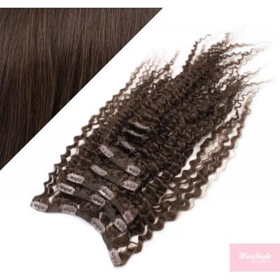 50cm clip in kudrnaté vlasy evropského typu REMY - tmavě hnědá