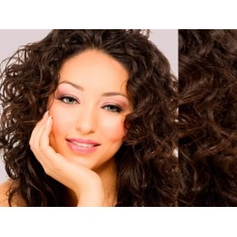 "20"" (50cm) Clip in curly human REMY hair - dark brown"