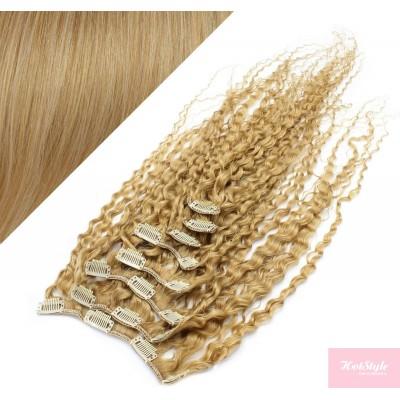 50cm clip in kudrnaté vlasy evropského typu REMY - přírodní blond