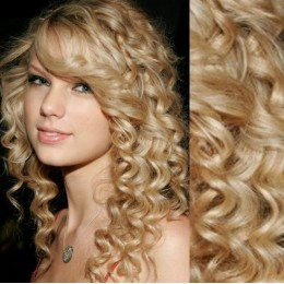 "20"" (50cm) Clip in curly human REMY hair - the lightest blonde"