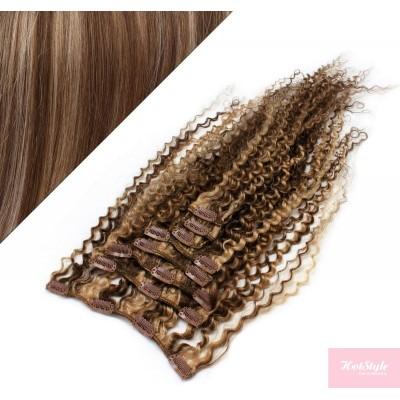 50cm clip in kudrnaté vlasy evropského typu REMY - tmavý melír