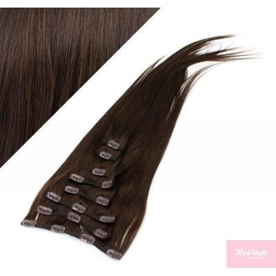 40cm clip in lidské REMY vlasy evropského typu - tmavě hnědá