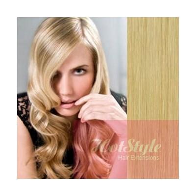 40cm clip in lidské REMY vlasy evropského typu - přírodní blond