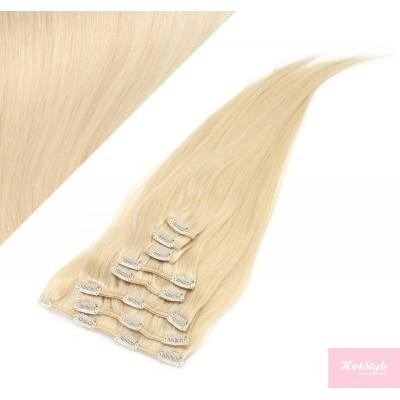 40cm clip in lidské REMY vlasy evropského typu - nejsvětlejší blond