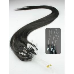 "24"" (60cm) Micro ring human hair extensions – natural black"