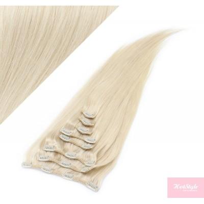 40cm clip in lidské REMY vlasy evropského typu - platina