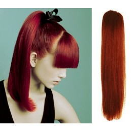 """Clip in ponytail wrap / braid hair extension 24"""" straight - copper red"""