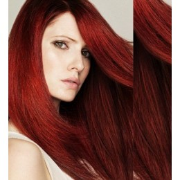 "28"" (70cm) Clip in human REMY hair - copper red"