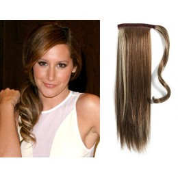 "Clip in human hair ponytail wrap hair extension 20"" straight - dark brown/blonde"