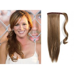 "Clip in human hair ponytail wrap hair extension 24"" straight - light brown"