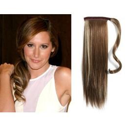 "Clip in human hair ponytail wrap hair extension 24"" straight - dark brown/blonde"