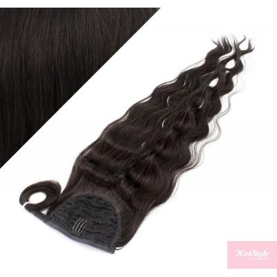 50 cm culík / cop z lidských vlasů vlnitý - přírodní černá
