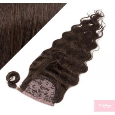 50 cm culík / cop z lidských vlasů vlnitý - tmavě hnědá