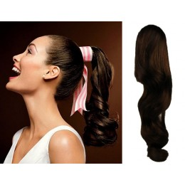 "Clip in human hair ponytail wrap hair extension 20"" wavy - dark brown"