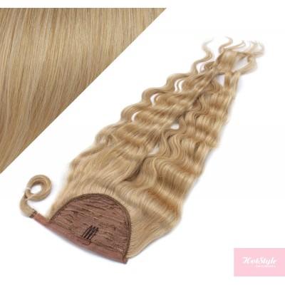 50 cm culík / cop z lidských vlasů vlnitý - přírodní blond