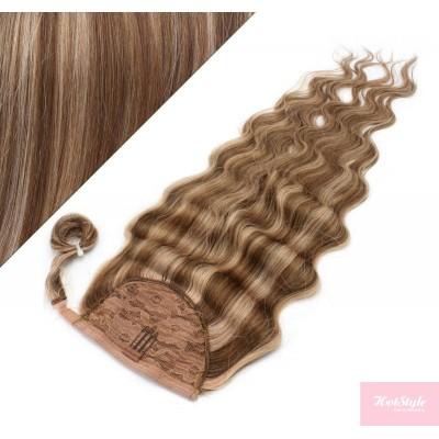 50 cm culík / cop z lidských vlasů vlnitý - tmavý melír