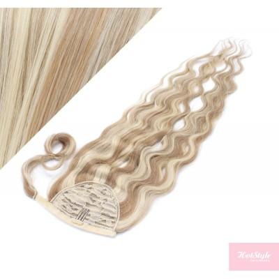 50 cm culík / cop z lidských vlasů vlnitý - světlý melír