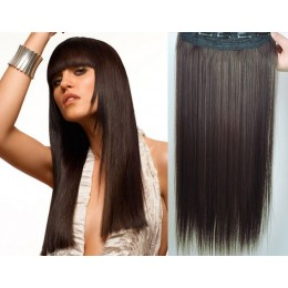Clip vlasový pás remy 43cm rovný – tmavě hnědá