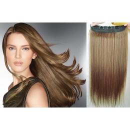 Clip vlasový pás remy 43cm rovný – světle hnědá