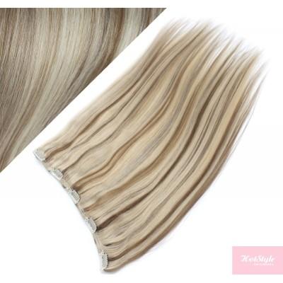 Clip vlasový pás remy 43cm rovný – platina / světle hnědá