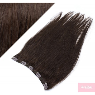 Clip vlasový pás remy 53cm rovný – tmavě hnědá