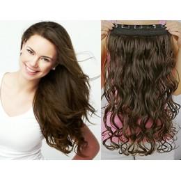 Clip vlasový pás remy 43cm vlnitý – tmavě hnědá