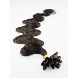 50cm vlasy na keratin vlnité - přírodní černá