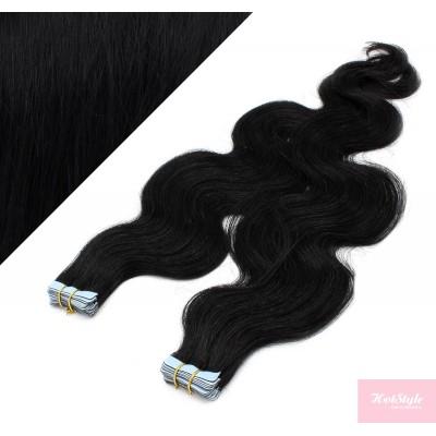 50cm Tape vlasy / Tape IN vlnité - černá