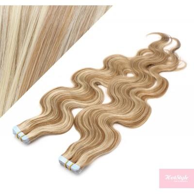 50cm Tape vlasy / Tape IN vlnité - světlý melír