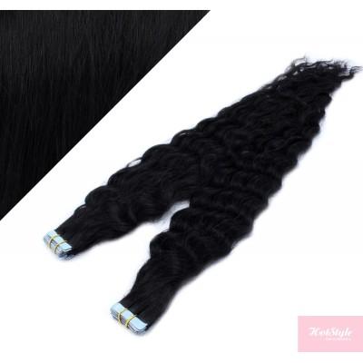 50cm Tape vlasy / Tape IN kudrnaté - černá