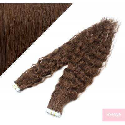 50cm Tape vlasy / Tape IN kudrnaté - středně hnědá