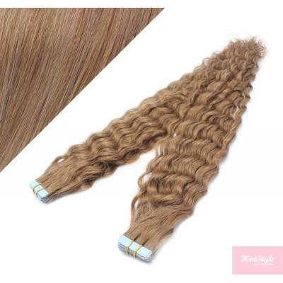 50cm Tape vlasy / Tape IN kudrnaté - světle hnědá