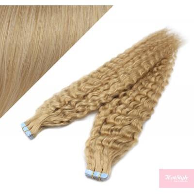 50cm Tape vlasy / Tape IN kudrnaté - přírodní blond