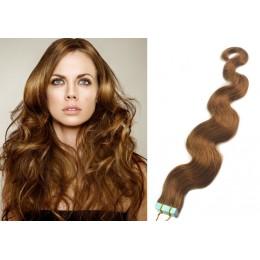 60cm Tape vlasy / Tape IN vlnité - světle hnědá