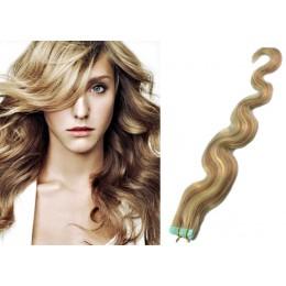 60cm Tape vlasy / Tape IN vlnité - světlý melír