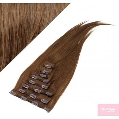 40cm clip in REMY vlasy evropského typu 100g - středně hnědá
