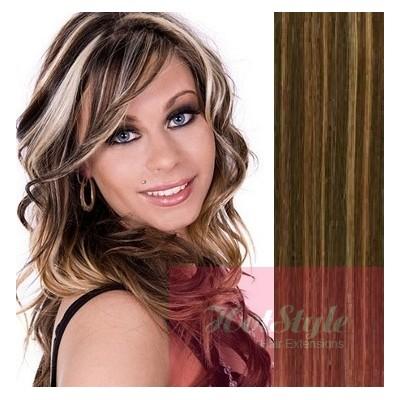 40cm clip in REMY vlasy evropského typu 100g - tmavý melír