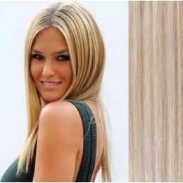 40cm clip in REMY vlasy evropského typu 100g - platina/světle hnědá