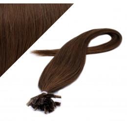 60cm vlasy na keratin - středně hnědá