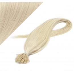 60cm vlasy na keratin - platina