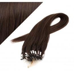 50cm micro ring / easy ring vlasy - tmavě hnědá