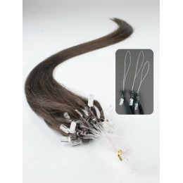 "20"" (50cm) Micro ring human hair extensions – dark brown"