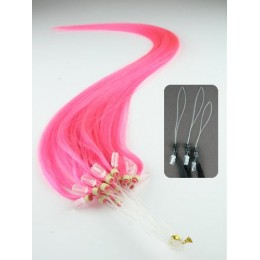 """24"""" (60cm) Micro ring human hair extensions – pink"""