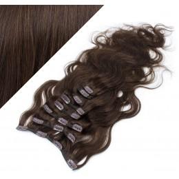 50cm clip in vlnité vlasy evropského typu REMY - tmavě hnědá