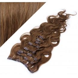 50cm clip in vlnité vlasy evropského typu REMY - středně hnědá