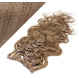 50cm clip in vlnité vlasy evropského typu REMY - světle hnědá