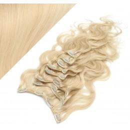 50cm clip in vlnité vlasy evropského typu REMY - nejsvětlejší blond